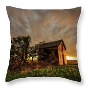 Basking In The Glow - Old Barn At Sunset In Oklahoma Panhandle Throw Pillow