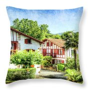 Basque Houses In Ainhoa 2- Vintage Version Throw Pillow