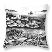 Bass And Crappie Throw Pillow