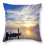 Bass Fisherman At Dawn, Oregon Cascades Throw Pillow