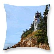 Bass Harbor Light House Throw Pillow