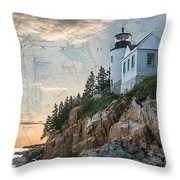 Bass Harbor Lighthouse On Maine Nautical Chart Throw Pillow