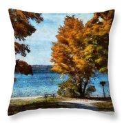Bass Lake October Throw Pillow