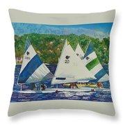 Bass Lake Races  Throw Pillow