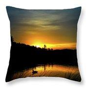 Bass Lake Sunrise Duck Throw Pillow
