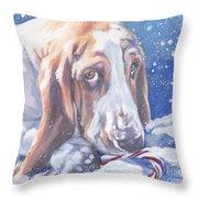 Basset Hound Christmas Throw Pillow