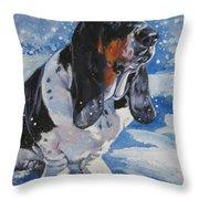 basset Hound in snow Throw Pillow