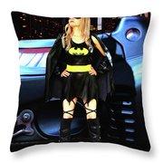 Bat Gal In The City Throw Pillow