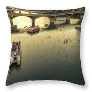 Bat Watchers Stand In Tour Boats As The Bats Take Flight During Sunset On The Congress Avenue Bridge Throw Pillow