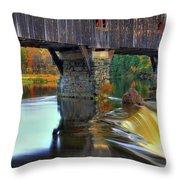 Bath Covered Bridge In Autumn Throw Pillow