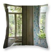 Bath Room Windows -urban Exploration Throw Pillow