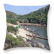 Bathers At Cales Coves Throw Pillow