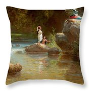Bathers At The River. Evening In Orinoco? Throw Pillow