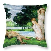 Bathers Male And Female Throw Pillow