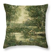 Bathers. Woodland Throw Pillow