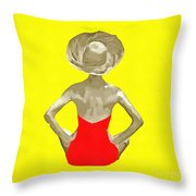 Bathing Beauty Red Suit Painting Throw Pillow