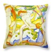 Bathing Girls 1910 Throw Pillow