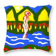 Bathing In A Mountain Stream Throw Pillow