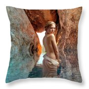 Bathing Maiden Throw Pillow