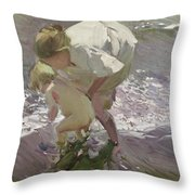 Bathing On The Beach Throw Pillow
