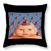 Bathing With Devil Duck Throw Pillow