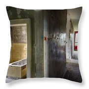 Bathroom In Deserted Building Throw Pillow