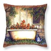 Bathtub Garden Throw Pillow