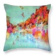 Batik Fall Silk Scarf Throw Pillow