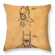 Batman Cowl Patent In Sepia Throw Pillow