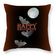 Bats And The Moonlight - Happy Halloween Throw Pillow