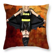 Bats At Sunset Throw Pillow