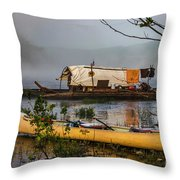 Batteau And Canoe In Fog At Galt's Mill 1708 Throw Pillow