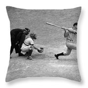 Batter Swings Strike At Home Plate Throw Pillow