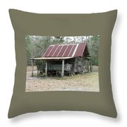 Battered Barn And Weathered Wagon Throw Pillow