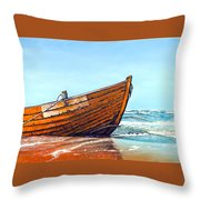 Battered By The Sea Throw Pillow