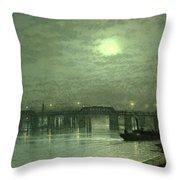 Battersea Bridge By Moonlight Throw Pillow by John Atkinson Grimshaw