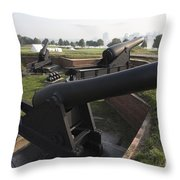 Battery Of Cannons At Fort Mchenry Throw Pillow