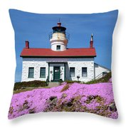 Battery Point Lighthouse In Crescent City Throw Pillow