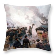 Battle Between Kearsarge And Alabama Throw Pillow by War Is Hell Store