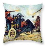 Battle Cars, 1900s French Postcard Throw Pillow
