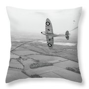 Battle Of Britain Spitfire Black And White Version Throw Pillow