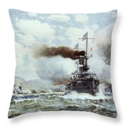 Battle Of Manila Bay 1898 Throw Pillow