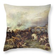 Battle Of Montereau Throw Pillow by Jean Charles Langlois