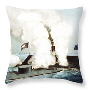 Battle Of The Monitor And Merrimack Throw Pillow