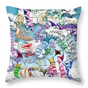 Battling Kites -- Blue Throw Pillow