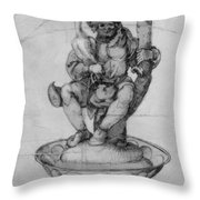 Bauer Goose With A Fountain Figure Throw Pillow