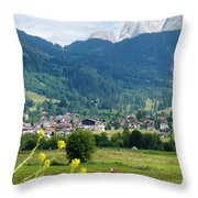 Bavarian Alps With Village And Flowers Throw Pillow