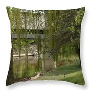 Bavarian Covered Bridge Over The Cass River Frankenmuthmichigan Throw Pillow