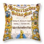 Bavarian Volksfest New York Vintage Poster 1897 Throw Pillow