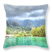 Bay And Greenery Throw Pillow